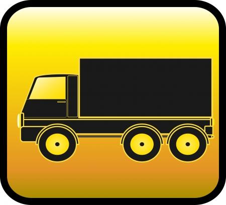 Foto de yellow sign with transport truck silhouette on a glossy background - Imagen libre de derechos