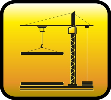 yellow sign with modern construction crane silhouette