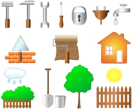 set of objects for home work and household