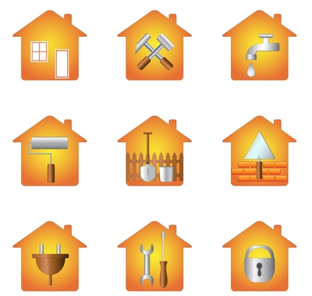 Illustration pour set icon of tools and silhouette of house - image libre de droit