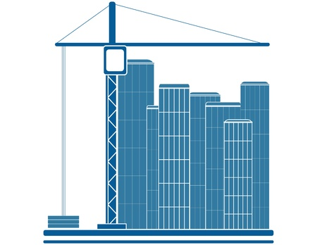 blue construction sign with crane and skyscraper