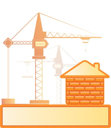 Two construction crans and new brick house