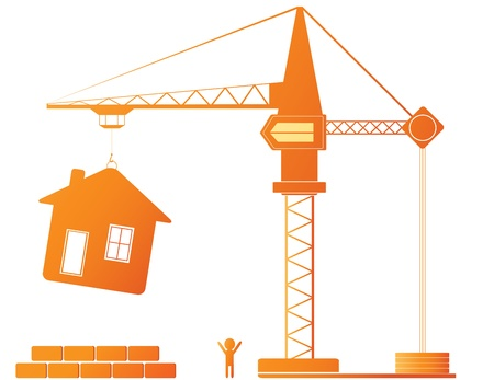 Construction equipment - crane and new house