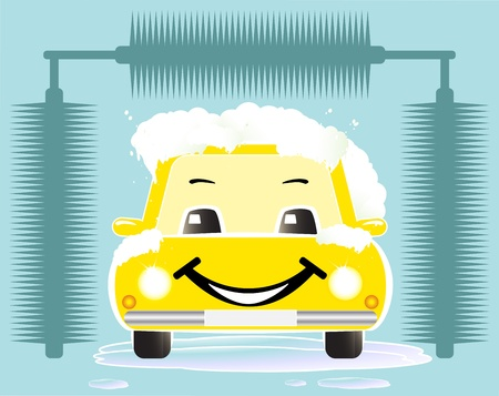 yellow cheerful toy car washing on blue background