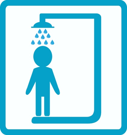 symbol of shower room with man silhouette