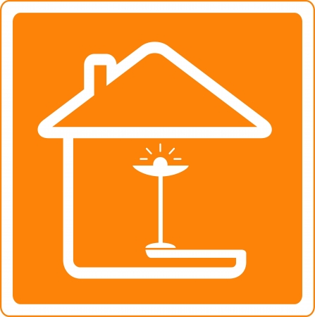 icon with house silhouette and floor lamp