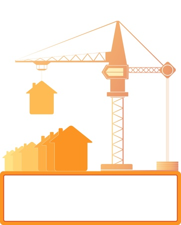 red symbol construction crane with houses and place for text