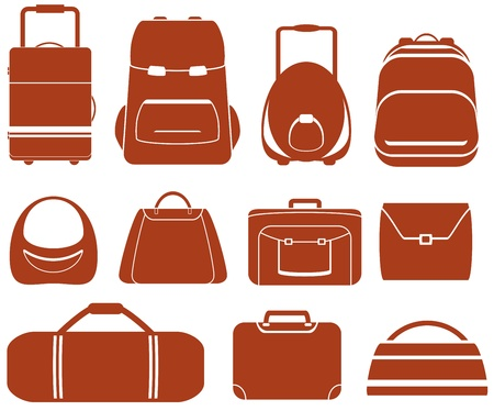Illustration pour set many red isolated bag for man or woman - image libre de droit