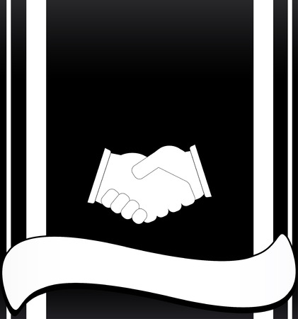 black deal background with handshake and place for text