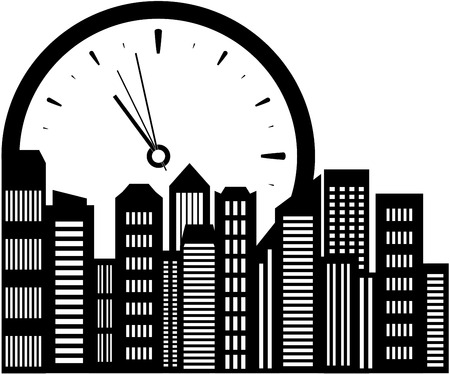 isolated clock and city landscape icon. realty symbol