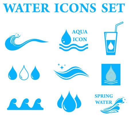 Illustration for blue water icons set with drop and wave silhouette - Royalty Free Image