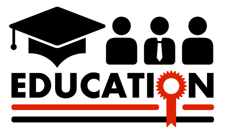 black education symbol with gold award silhouette