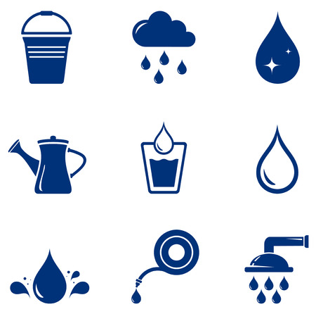 Illustration pour set blue isolated watering icons on white background - image libre de droit