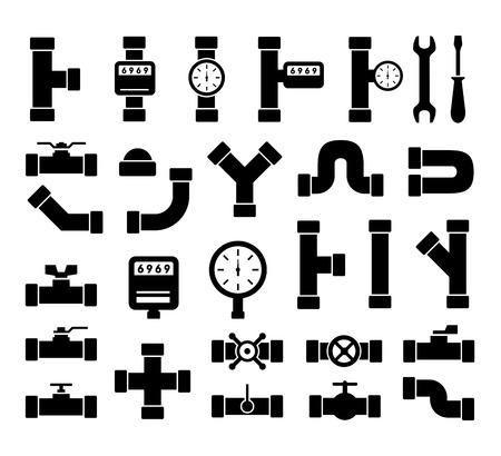 Illustration pour set of black isolated plumbing pipes icon - image libre de droit