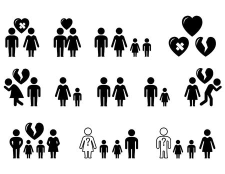 Ilustración de set icons with family situation - wedding, divorce, love, hatred - Imagen libre de derechos
