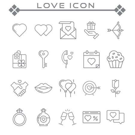 Set of Love Related Vector Line Icons. Contains such Icons as Romantic Letter, Happy Couple, Gift, Flower and more.