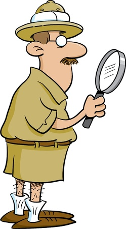 Explorer holding a magnifying glass