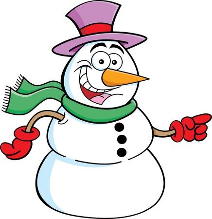 Cartoon illustration of a snowman pointing