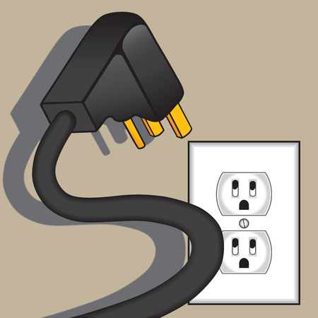 Spooky electrical plug hovering over terrified outlet