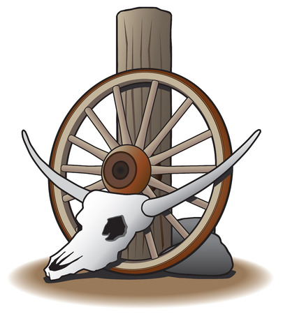 Steer skull leaning against wagon wheel which is leaning against post