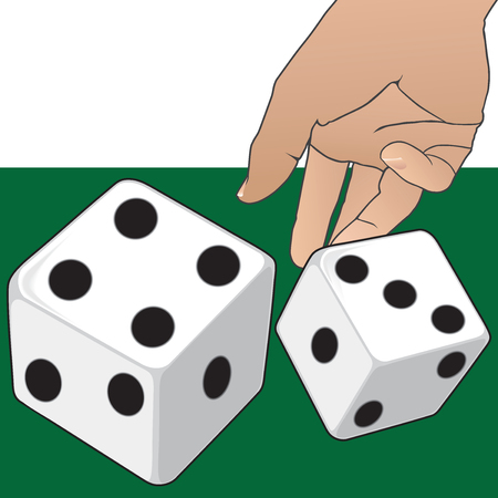 A hand is tossing dice onto a green surface.