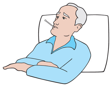 An elderly man with a thermometer in his mouth is lying in bed