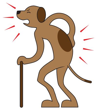 Illustration for An old dog is suffering from aches and pains as he tries to wallk - Royalty Free Image