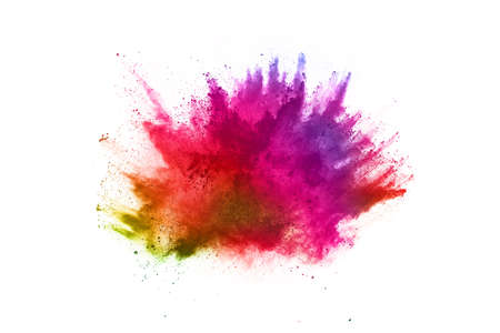 Photo pour abstract powder splatted background. Colorful powder explosion on white background. Colored cloud. Colorful dust explode. Paint Holi. - image libre de droit