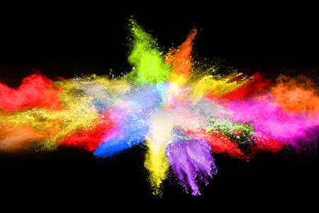 Photo pour abstract colored dust explosion on a black background.abstract powder splatted background,Freeze motion of color powder exploding/throwing color powder, multicolored glitter texture. - image libre de droit