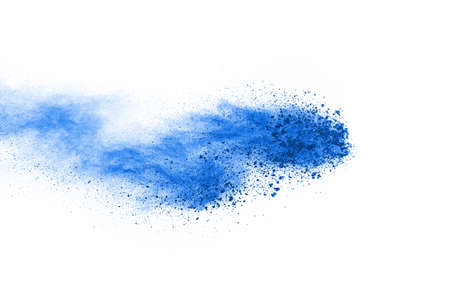 Photo for Blue color powder explosion on white background. Colored cloud. Colorful dust explode. Paint Holi. - Royalty Free Image