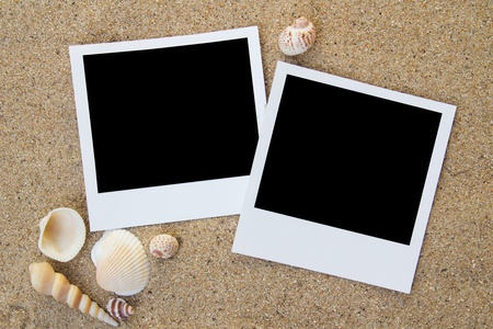 Polaroid photo frames on the beach with seashells around