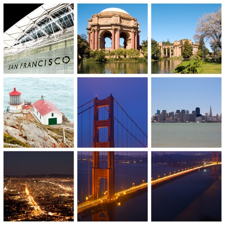San Francisco city landmarks and tourist destinations collage