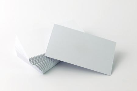 Photo pour Close up of plain business cards on white background - image libre de droit