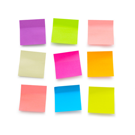 Nine color blank sticky notes on white background