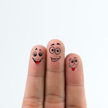Foto de Happy family fingers isolated on white background - Imagen libre de derechos