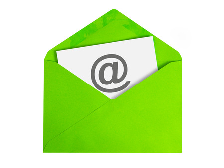 Paper sheet with email icon in green envelope