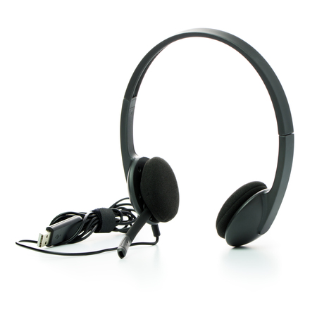 Black USB corded headset over white background