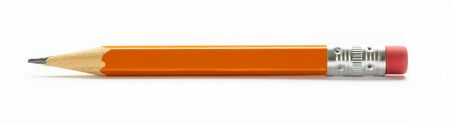 Photo pour Yellow orange pencil with eraser isolated on a white background - image libre de droit