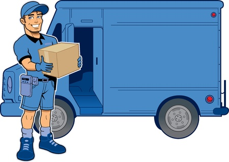 Illustration pour Express Delivery Man Holding a Package, Standing in Front of His Truck - image libre de droit