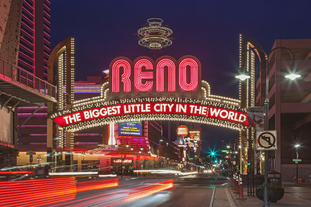 A Night shot of The Famous Arch  The Biggest Little City in the World  at Reno, Nevada