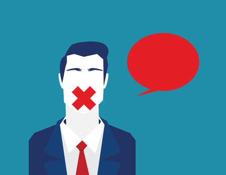 Blocking freedom to talk or comment. Closed freedom talking. Business concept illustration. Vector flat