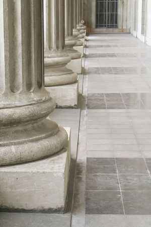Stone Pillars outside the Parliament during the Day