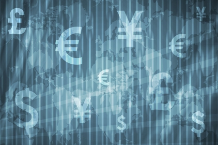 Currencies Collage Abstract Background in Blue Colors