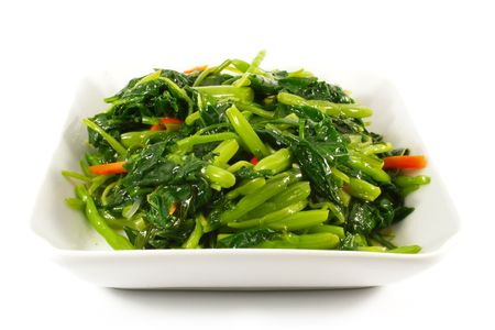 Asian Chinese Cooking Style Stir Fry Vegetable Dish on White Plate