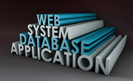 Web Application Database System in 3d Background