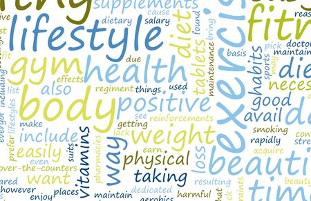 Healthy Lifestyle Word Cloud Wallpaper Mural