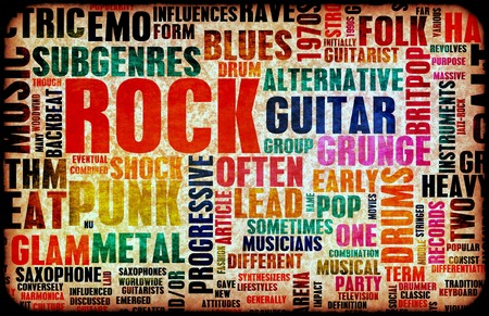 Rock Music Poster Art as Grunge Background