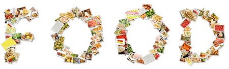 Food Menu Collage in Letters of Alphabet