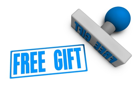 Free Gift Stamp or Chop on Paper Concept in 3d