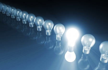 Innovation with Special Light Bulb Lit As Concept